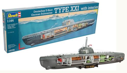 Revell 05078 1:144 German Submarine Type XXI with interior