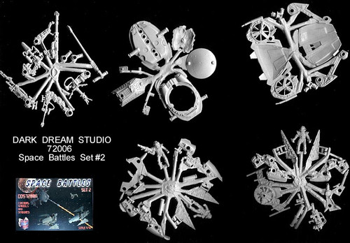 """Orion Presents Dark Dreams Studio Space Battles set 2 Imperial Forces """"Screaming Shadow"""" Federal Forces Light Scooter """"Mustang MkI and Mk2"""", UAV """"Ospray"""""""