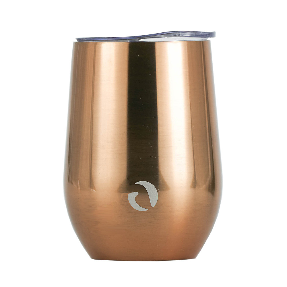 Drinco - Stainless Steel Wine Tumbler   Double Walled Triple Vacuum Insulated Stemless Wine Glass with Splash Proof Lid For Hot & Cold Drinks   California   12oz   (Single, Sunset Copper)