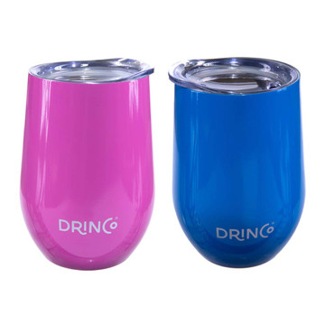 Drinco 12oz Stainless Steel Stemless Wine Glass Double Wall Vacuum Triple Insulated Tumbler Cup Mug with Press in lid, BPA Free Shatterproof, 18/8 grade (Pink & Blue) | 2 Pack