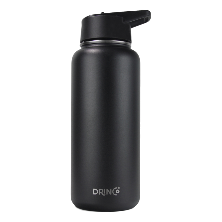 Drinco Vacuum Insulated Stainless Steel Water Bottle, with Spout Lid, Wide Mouth, Leak Proof, Powder Coated, Double Wall, 18/8 Grade, Stainless Steel Water Bottle 32 oz