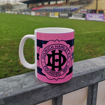 Pink and Navy Striped Anniversary Crest Mug