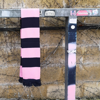 Pink and Navy Bar Scarf