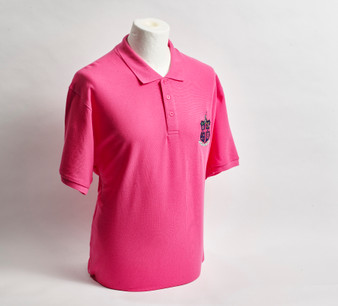 Fuschia Pink Pique Polo Shirt with Club Crest - Men