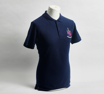 Navy Pique Polo Shirt with Club Crest - Men