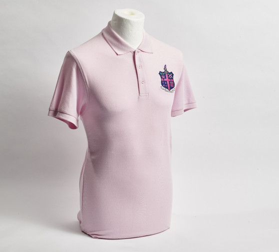 Pale Pink Pique Polo Shirt with Club Crest - Men