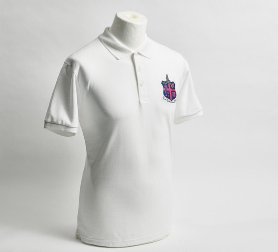 Adult DHFC Crest White Pique Polo Shirt