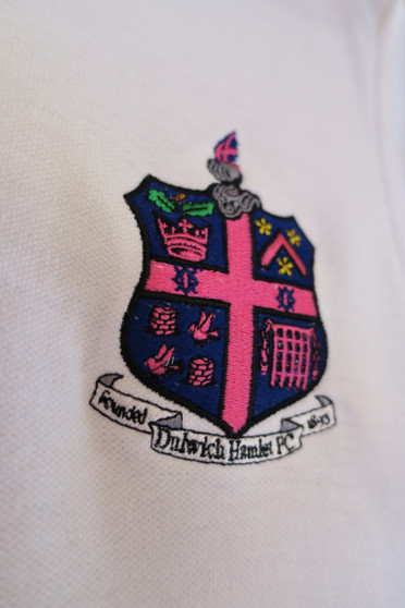 Kids DHFC Crest Pique White Polo Shirt