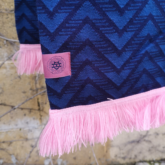 Navy and Pink Patterned Scarf