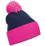 Pink and Navy Duo Tone Bobble Hat