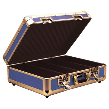 Blue High Quality Euro Style CD Case Holds 150 CDs with Lift Off Lid and Soft Lining