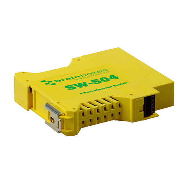 Brainboxes SW-504 Unmanaged network switch Fast Ethernet 10/100 Yellow network switch SW-504