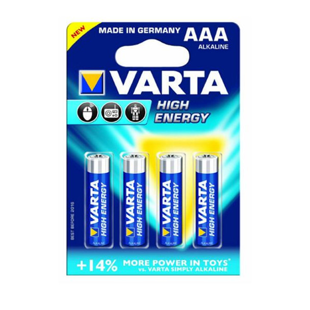 Varta AAA High Energy Battery Alkaline 4903620414 Pack of 4
