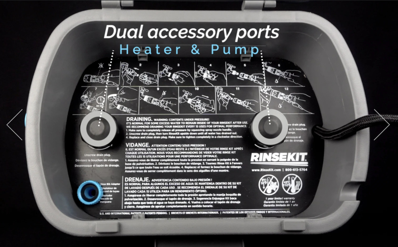 RinseKit Hot Rod Water Heater Accessory for Portable Shower Sprayer on All