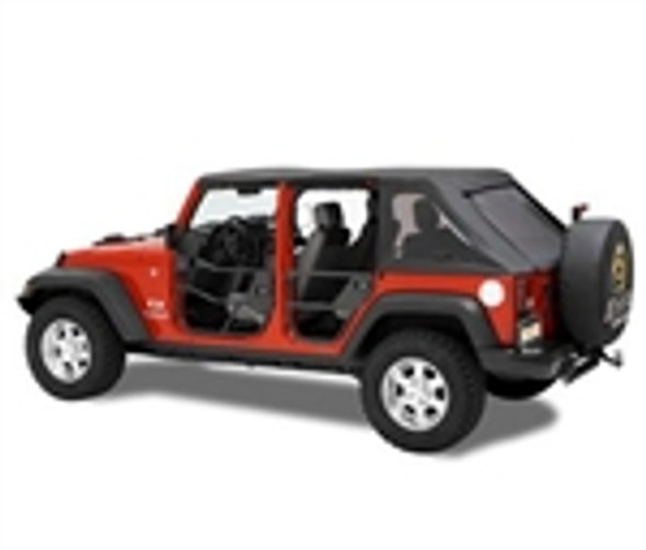These awesome doors have a heavy duty 1-1/4 inch tube construction. No drill application means easy on and easy off for trail days or whenever. Heavy duty frame provides exterior protection yet ventilation. Easily accepts OEM mirror. Add the large heavy duty storage pockets which can be positioned inside or outside of vehicle, allowing for easy access. Armrest padding is even built into the storage pockets.Optional Door Enclosure Kit converts the Element Door can be left black or painted match to original Jeep color. New Upper Door Sets make the Element Doors a Complete Door for protection from the cold!1 Year Limited Warranty.