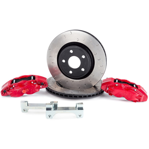 "The ALCON front & rear big brake kit for 2007-2018 Jeep Wranglers offers unmatched performance both on and off road for your daily driver or purpose built trail rig. Utilizing massive 350mm front and 330mm rear rotors in conjunction with 4 piston calipers all around helps achieve up to 45% improved performance over the OEM brakes.Here's the facts from ALCON:- Gains in performance over stock braking systemsUp to 30% reduction in disc temperature riseUp to 26% reduction in pad work rateUp to 25% reduction in pedal effort- Ductile Iron caliper housing providing maximum strength and stiffness as well as high resistance to impact & fatigue- Epoxy acrylic paint over acid zinc finish for maximum corrosion protection- High friction pads significantly increase both stopping distance & stopping power- Larger rotors increase brake torque and thermal capacity, reducing potential for brake fade- Increased pad area reduces temperatures and increases pad life- Retains & utilizes OEM parking brake- Fits many 17"" and larger aftermarket wheelsNotes: This kit is for both the front & rear axles, the individual front or rear kits are avaliable - please call in to inquire about these kits, thank you!Rebel's take: ""We're running Alcon's Big Brake Kit on two separate Jeeps at the shop, and the added performance is absolutely incredible. We could literally use one big toe to stop the Jeep with no problems at all. We upgraded the Rebel Command vehicle to 42"" Maxxis Trepador tires and the Alcon brakes bring it to a stop far shorter than a stock Jeep - which say's quite a lot about the stopping power these things make...""IF YOU HAVE ANY QUESTIONS PLEASE GIVE US A CALL AT 866-900-8841 TO SPEAK WITH A BUILD SPECIALIST. THEY'LL BE ABLE TO APPLY YOUR NEW $300 GIFT CERTIFICATE IMMEDIATELY TO YOUR ALCON BIG BRAKE PURCHASE!Installation Instructions"