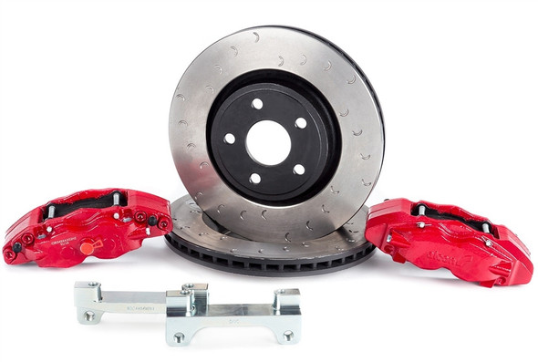"The ALCON front & rear big brake kit for 2007-2018 Jeep Wranglers offers unmatched performance both on and off road for your daily driver or purpose built trail rig. Utilizing massive 350mm front and 330mm rear rotors in conjunction with 4 piston calipers all around helps achieve up to 45% improved performance over the OEM brakes. For Jeep Wrangler axles featuring Dana 60/70.Here's the facts from ALCON:- Gains in performance over stock braking systemsUp to 30% reduction in disc temperature riseUp to 26% reduction in pad work rateUp to 25% reduction in pedal effort- Ductile Iron caliper housing providing maximum strength and stiffness as well as high resistance to impact & fatigue- Epoxy acrylic paint over acid zinc finish for maximum corrosion protection- High friction pads significantly increase both stopping distance & stopping power- Larger rotors increase brake torque and thermal capacity, reducing potential for brake fade- Increased pad area reduces temperatures and increases pad life- Retains & utilizes OEM parking brake - Fits many 17"" and larger aftermarket wheelsNotes: This kit is for both the front & rear axles, the individual front or rear kits are avaliable - please call in to inquire about these kits, thank you!Rebel's take: ""We're running Alcon's Big Brake Kit on two separate Jeeps at the shop, and the added performance is absolutely incredible. We could literally use one big toe to stop the Jeep with no problems at all. We upgraded the Rebel Command vehicle to 42"" Maxxis Trepador tires and the Alcon brakes bring it to a stop far shorter than a stock Jeep - which say's quite a lot about the stopping power these things make...""Installation Instructions"