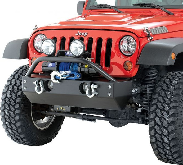 Rock Hard 4x4 Parts Shorty Front Bumper with Fog Light Cutouts for Jeep JK