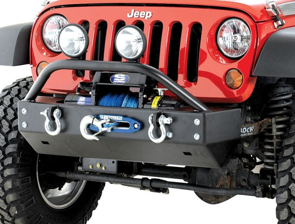 Rock Hard 4x4 Parts Shorty Front Bumper with Lowered Winch Plate for Jeep JK