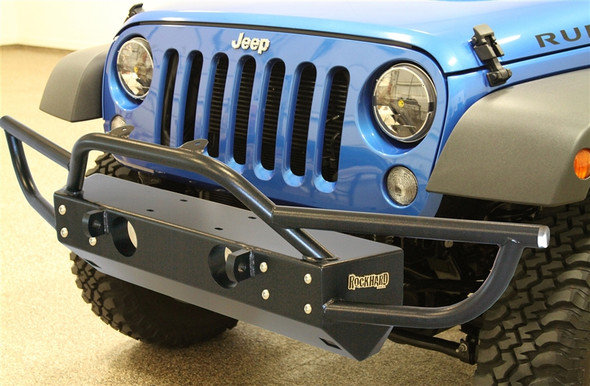 Rock Hard 4x4 Grille Width Front Bumper w/ Tube Extensions for Jeep Wrangler JK 2/4DR 2007 - 2018