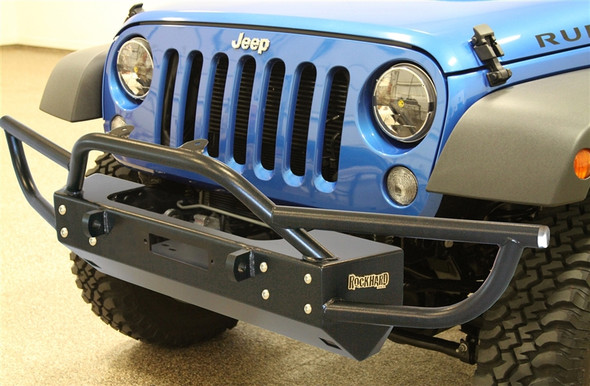 Rock Hard 4x4 Grille Width Front Bumper w/ Tube Extensions w/ Lowered Winch Plate w/o Fog Lights for Jeep Wrangler JK 2/4DR 2007 - 2018
