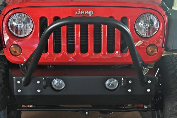 "Rock Hard 4x4 Grille Width ""Stubby"" Front Bumper w/ Stinger for Jeep Wrangler JK 2/4DR 2007 - 2018"