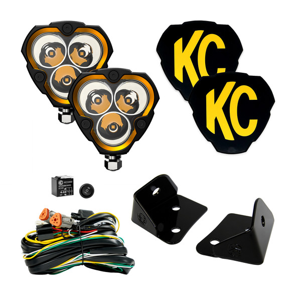 KC HiLiTES FLEX ERA 3 - 2-Light System - Pillar Mount - 40W Spot Beam - for Jeep JK 97126