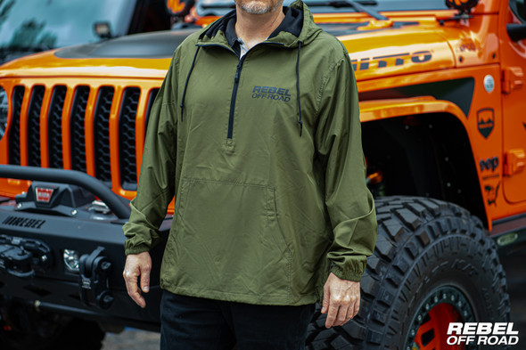Rebel Off Road Silverton Army Green Pullover Windbreaker