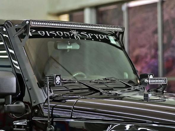 "Rigid Industries 40131 Upper Windshield Mount Kit for 07-18 Jeep Wrangler JK with 50"" E/SR Series Bars"