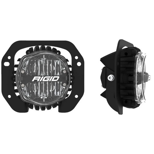 Rigid Industries 37106 SAE Round Fog Light & Mount Kit for 18-21 Jeep Wrangler JL & Gladiator JT Rubicon with 1-Piece Plastic Bumper
