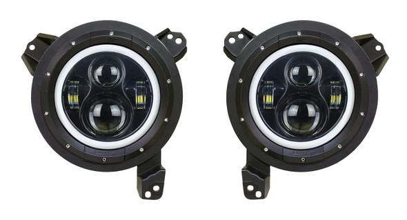 Quake LED Jeep Wrangler JL/Gladiator 9 Inch Headlights w/ White DRL Halo/Amber Turn Signal