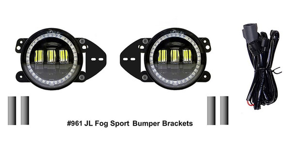 Quake LED Jeep Wrangler JL/Gladiator 4 Inch Fog Lights w/ White DRL Halo/Amber Turn Signal