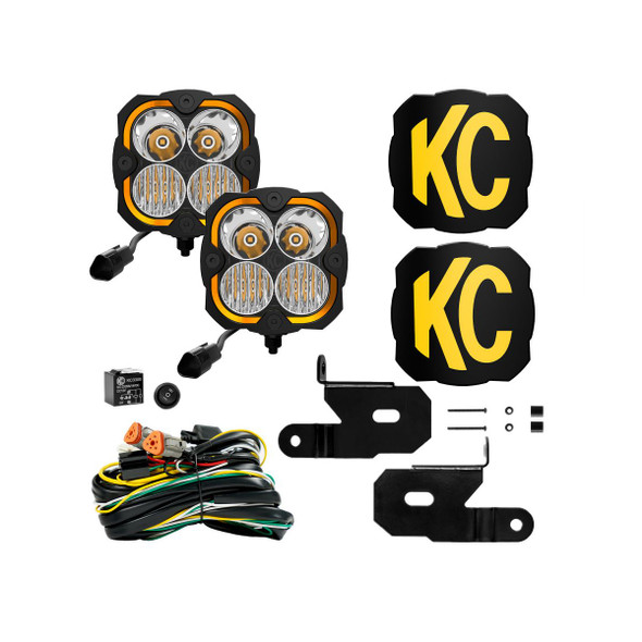 KC HiLiTES FLEX ERA® 4 - 2-LIGHT SYSTEM - PILLAR MOUNT - 80W COMBO BEAM - FOR 18-21 JEEP JL / JT