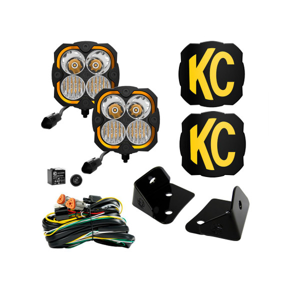 KC HiLiTES FLEX ERA® 4 - 2-LIGHT SYSTEM - PILLAR MOUNT - 80W COMBO BEAM - FOR JEEP JK