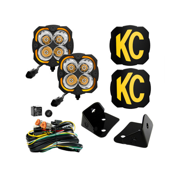 KC HiLiTES FLEX ERA® 4 - 2-LIGHT SYSTEM - PILLAR MOUNT - 80W SPOT BEAM - FOR JEEP JK