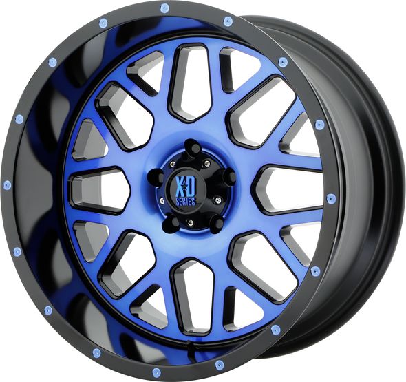 Xd Wheels Xd820 Grenade Satin Black Machined Face, Blue Tinted Clear Coat