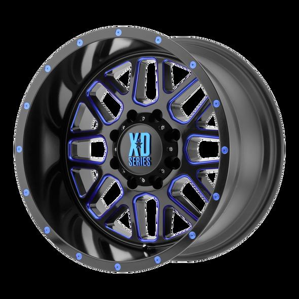 Xd Wheels Xd820 Grenade Satin Black Milled, Blue Clear Coat
