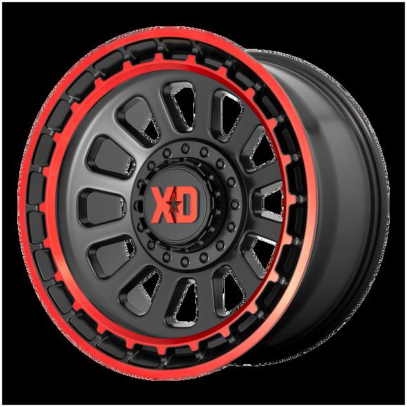 Xd Wheels Xd856 Omega Satin Black Machined Lip, Red Tint