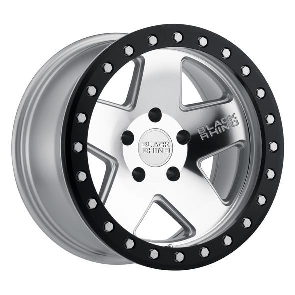 Black Rhino Crawler Silver W/ Mirror Face & Black Lip Ring Wheels
