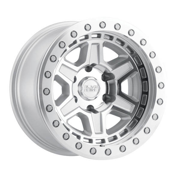 Black Rhino Reno Beadlock- Silver Mirror Face, Silver Bolts Wheels