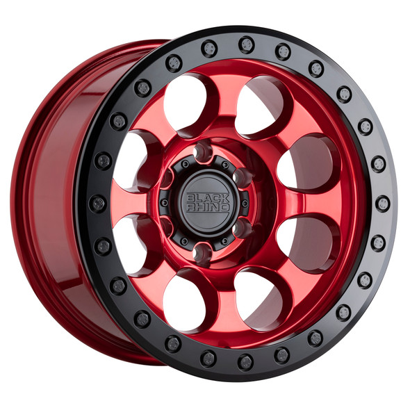 Black Rhino Riot Beadlock- Candy Red, Black Ring Wheels
