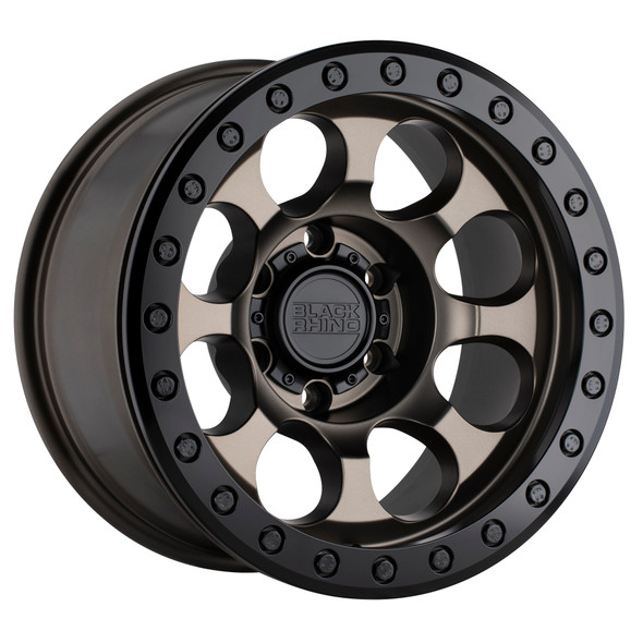 Black Rhino Riot Beadlock- Matte Bronze, Black Ring Wheels