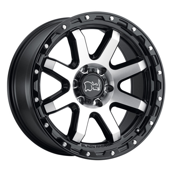 Black Rhino Coyote Gloss Black W/ Machined Face & Stainless Bolts Wheels