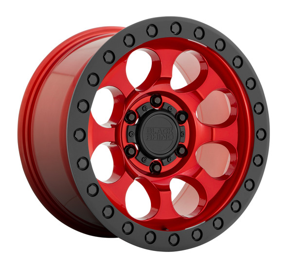 Black Rhino Riot- Candy Red, Black Ring Wheels
