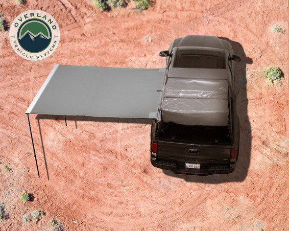 Overland Vehicle Systems 6.5' x 8' Awning- Gray, Black Cover 18049909