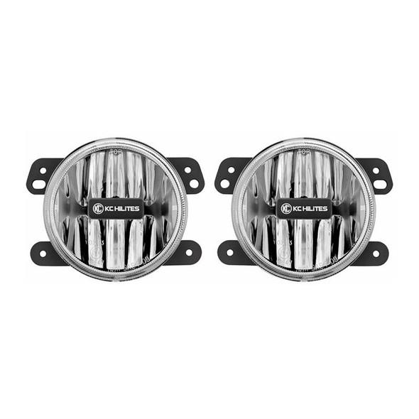 "KC HiLiTES4"" Gravity® LED G4 - 2-Light System - Amber - SAE/ECE - 10W Fog Beam - for 10-18 Jeep JK"