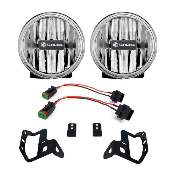"KC HiLiTES4"" Gravity® LED G4 - 2-Light System - SAE/ECE - 10W Fog Beam - 18-21 Jeep JL / JT Sport-S-Altitude Bumper"
