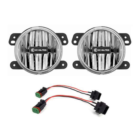 "KC HiLiTES4"" Gravity® LED G4 - 2-Light System - Amber - SAE/ECE - 10W Fog Beam - for 18-21 Jeep JL / JT"