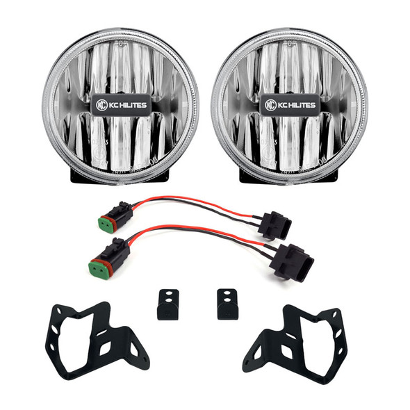 "KC HiLiTES4"" Gravity® LED G4 - 2-Light System - Amber - SAE/ECE - 10W Fog Beam - Jeep JL / JT Sport-S-Altitude Bumper"
