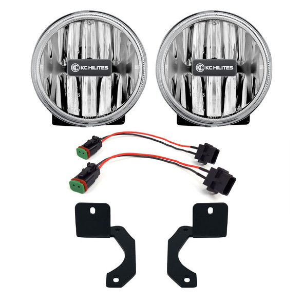"KC HiLiTES4"" Gravity® LED G4 - 2-Light System - Amber - SAE/ECE - 10W Fog Beam - Jeep JL / Jeep JT Steel Bumper"